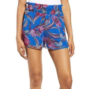 Floaty Paperbag Shorts Blue Tropical Floral 3X